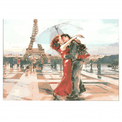 Painting set by number 30x40 cm - Kiss in Paris Q1431-framed canvas, scheme, paints and 3 brushes