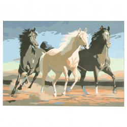 Set pictură după cifre 20x30 cm - Cai alergători msa0066