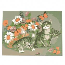 Set pictură după cifre 20x30 cm - Flori și pisoi msa0062