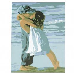 Set pictură după cifre 20x30 cm - Sărut pentru copii msa0067