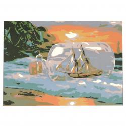 Set de pictură după cifre 20x30 cm - Barcă într-o sticlă msa0064