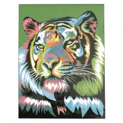 Set de pictură numărul 30x40 cm -Tigru-curcubeu Ms9282