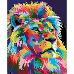 Комплект рисуване по номера 30x40 см -Лъв-дъга Ms9281