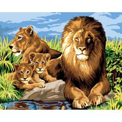 Комплект рисуване по номера 30x40 см -Семейство на лъвове Ms9198