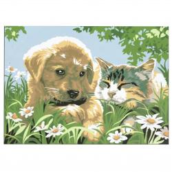 Комплект рисуване по номера 30x40 см -Куче и коте-Приятели Ms9187