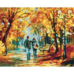 Комплект рисуване по номера 30x40 см -Есенна разходка Ms9251
