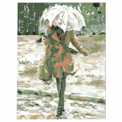 Комплект рисуване по номера 30x40 см -Жена в дъжда Ms9132