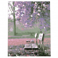 Комплект рисуване по номера 30x40 см -Виолетов следобед в парка Ms9920