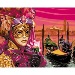 Set pictură după cifre 30x40 cm - Femeia cu masca Ms9285