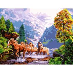 Pictură setată de cifre 30x40 cm - Cai pe râu Ms7438