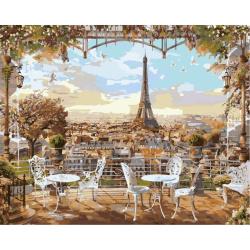 Комплект рисуване по номера 30x40 см -Изглед към Айфеловата кула Ms9137
