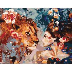 Set pictură după cifre 30x40 cm - Fata leu Ms7479