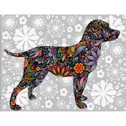 Set pictură după cifre 30x40 cm - Mozaic câine Ms9841