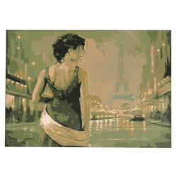Комплект рисуване по номера 30x40 см -Среднощен Париж Ms9296