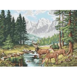 Комплект рисуване по номера 40x50 см -Горски елени Ms8037