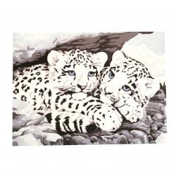 Комплект рисуване по номера 40x50 см -Бели тигърчета Ms8245