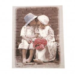 Комплект рисуване по номера 40x50 см -Първата целувка Ms8740