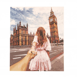 Комплект рисуване по номера 40x50 см -Следвай ме -Лондон Ms9758
