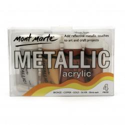 Комплект акрилна боя металик Mont Marte 4 цвята x 50 мл