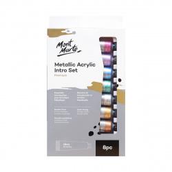 Комплект акрилна боя металик  Mont Marte Metallic Intro Set 8 цвята x 18 мл