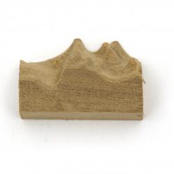 Планински връх / симулирана планинска форма от масивно тиково дърво за вграждане в епоксидна смола 30x10~21x12 мм