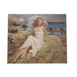 Диамантен гоблен 40x50 см кръгли диаманти пълно облепяне с рамка - Жена на брега YSG0179
