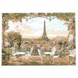 Диамантен гоблен 40x50 см кръгли диаманти пълно облепяне с рамка - Париж отдалече  YSG0373