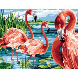 Комплект рисуване по номера 30x40 см - Розово фламинго Ms7573