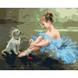 Комплект рисуване по номера 30x40 см - Малката балерина  Ms9105