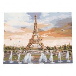 Комплект рисуване по номера 40x50 см -Фонтани пред Айфеловата кула Ms7210