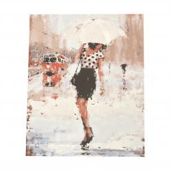 Комплект рисуване по номера 40x50 см -Жена в дъжда Ms7223