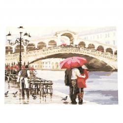 Комплект рисуване по номера 40x50 см -Влюбени в дъжда Ms7231