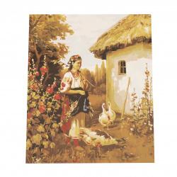 Комплект рисуване по номера 40x50 см -Селско момиче Ms7283