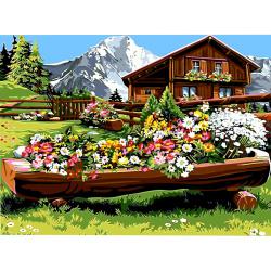 Комплект рисуване по номера 40x50 см -Планинска къща Ms7364