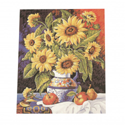 Комплект рисуване по номера 40x50 см -Ваза със слънчогледи Ms7377