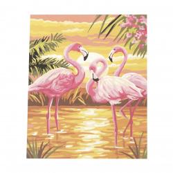 Комплект рисуване по номера 40x50 см -Фламинго по залез Ms7399