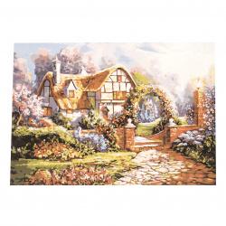 Комплект рисуване по номера 40x50 см - Къщата на цветарката Ms7660