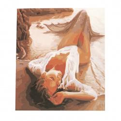 Комплект рисуване по номера 40x50 см - Русалка на брега Ms8007