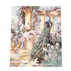 Комплект рисуване по номера 40x50 см - Разкошен паун Ms9245
