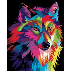 Комплект рисуване по номера 40x50 см - Вълк дъга Ms9261