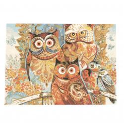 Комплект рисуване по номера 40x50 см - Цветни сови Ms9266