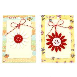 Мартеници цвете филц с усмивка 10 броя