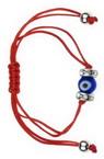 Мартеница гривна шнур със синьо око и кристали 10 броя