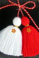 Мартеници пискюли с ламе и цвете 10 броя