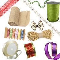 Satin, Organza, Jute, Burlap, Nylon, Adhesive Ribbons & Laces for Decoration, Craft, DIY, Wedding, Gift Wrapping, Jewellery Making