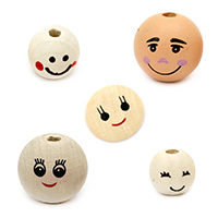 Wooden beads heads Smiley Face Painted Handmade Beads