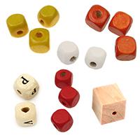 Дървени мъниста кубчета