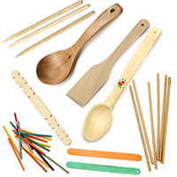 Wooden spoons and sticks for decoration