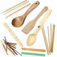 Дървени лъжици и пръчки за декорация