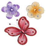 Decorative Organza Wire Butterflies & Flowers
